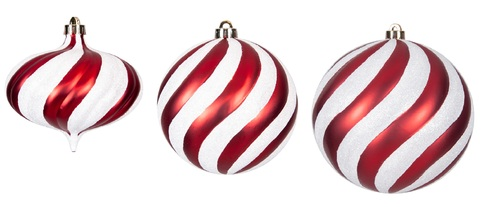 """Matte Red and Glitter White Twill Ball and Onion 5.5"""" Onion, 6"""" Ball or  8"""" Ball"""