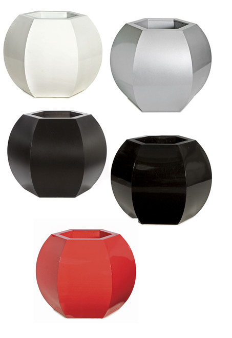 Hexagon Planters in Gloss or Satin Finish Black, Red, White, Silver