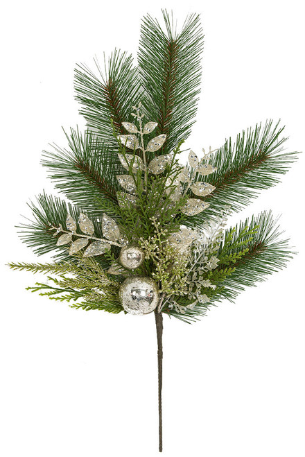 """20"""" Mixed PVC Pine & Champagne Leaves with Silver Glitter"""