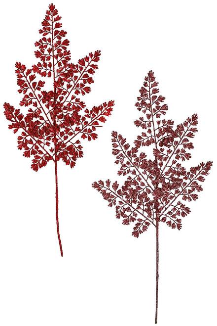 "25.5"" Glittered Fern Sprays Red and Burgundy"