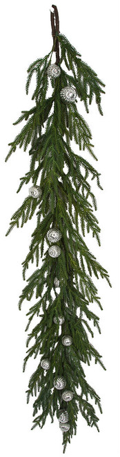5' Norfolk Pine with Silver Ornaments Natural Touch