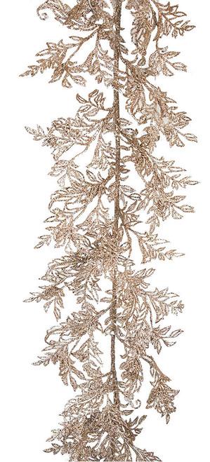 """76"""" Glittered Champagne Leaf Garland"""