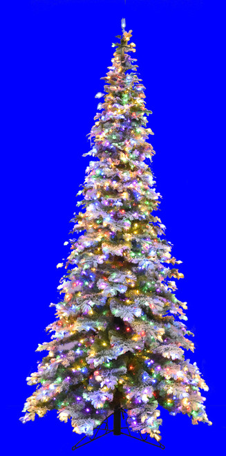 C-191439 12' Flocked Sitka Spruce  with Multi-Colored LED Lights