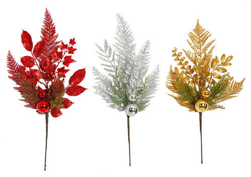 "21"" Glittered Mixed Leaf/Ball Spray Red, Silver or Gold"