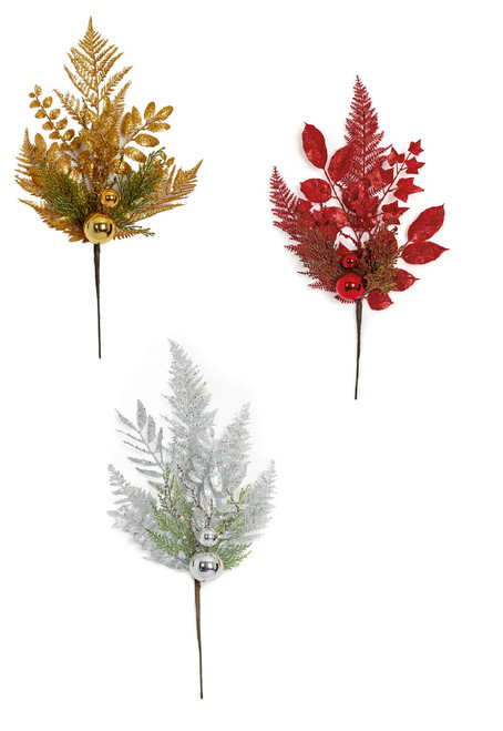 """21"""" Glittered Mixed Leaf/Ball Spray Red, Silver or Gold"""