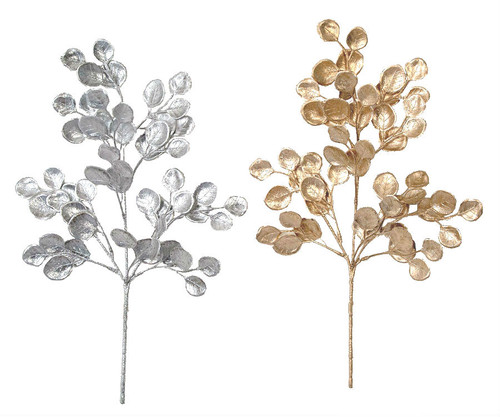 "20"" Silver Dollar Eucalyptus Spray Silver or Champagne Gold"
