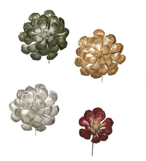 "Grouping of Succulents 9.5"" Wide - Sage Green/Grey, Silver, or Champagne Gold 6.5"" Wide - Burgundy/Gold"