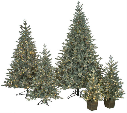 Appalachian Trees with Twinkling LED Lights 3' , 4' Potted Trees 5', 7.5', 9' and 12' Trees