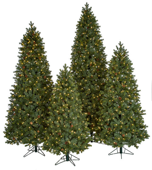 PE/PVC Mixed Needle Spruce Trees w/LED Lights