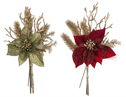 "12"" Metallic/Velvet Poinsettia Pick Metallic Sage Green Or  Red Velvet"