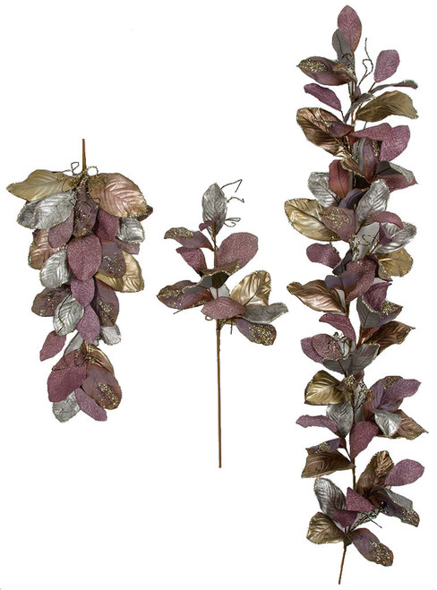 Purple Metallic/Velvet Glittered Magnolia Leaf Set