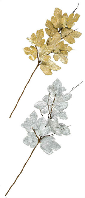Metallic Printed Maple Leaves in Gold or Silver