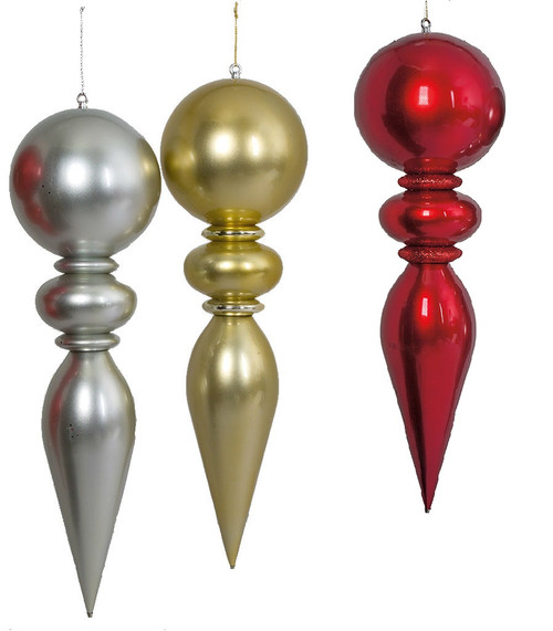 """40"""" x 10"""" Shiny Silver, Gold, or Red Finials"""