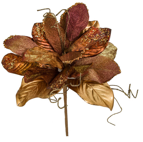 "19"" Magnolia Bush with Twigs Copper/Gold/Burgundy"