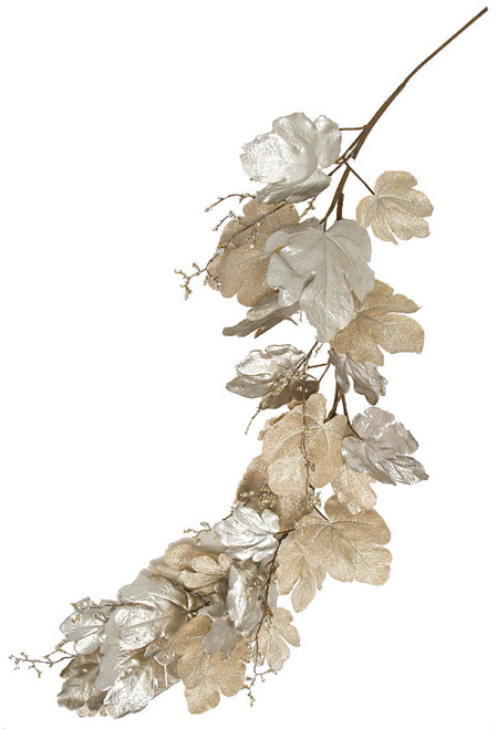 P-180990 6' Metallic/Glitter Champagne Fig Leaf Garland with Sequin Twigs