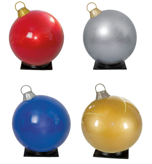 Glossy Glittered Ornaments Red, Silver, Blue, Gold