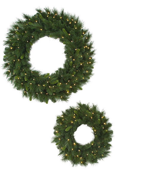 "24"" and 36"" Artisan Mixed Pine Wreaths  with Battery Operated LED Lights"