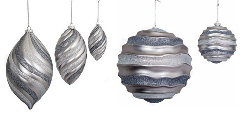 Matte/Glittered Pewter and Silver Finials and Balls