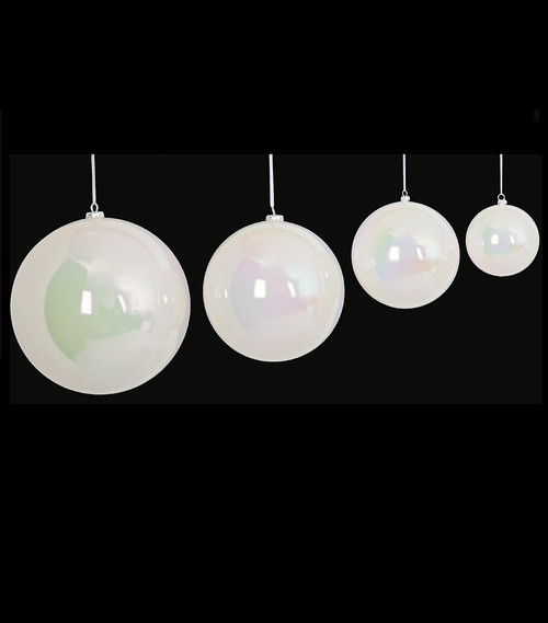 "Pearled White Ball Ornaments 4"" to 10"" Sizes"