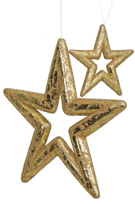 "Metallic Printed Gold Star Ornaments 6"" or 14"" Sizes"