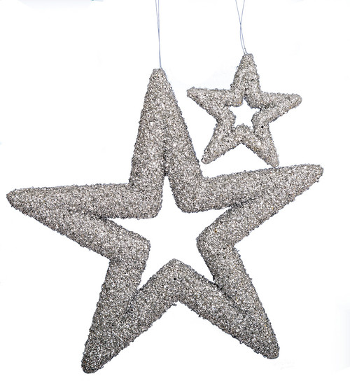 "5"" or 14"" Chunky Beaded Glittered Star Ornaments"