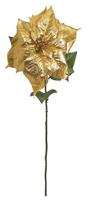 "31"" Metallic Gold Printed Poinsettia Stem"
