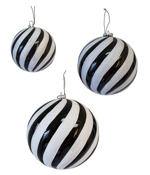 Spiral Glitter White and Shiny Black Ball Ornaments