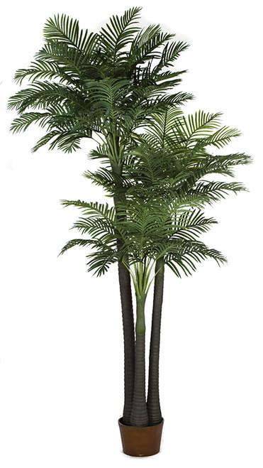 12.5' Areca Palm Tree x 3 Synthetic Trunk Weighted Base