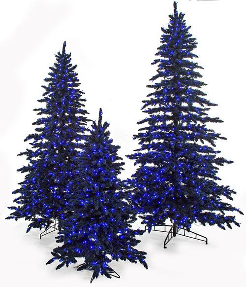 Flocked Navy Blue Marin Trees