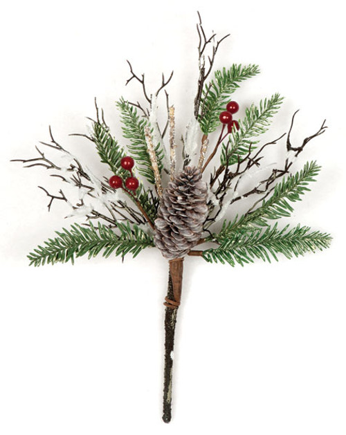 14 Inch Mixed Pine Snow Covered Berries