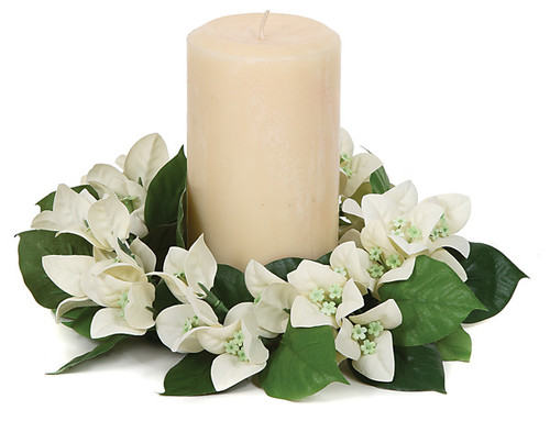 """CR-70010 - FireSafe 8"""" Bougainvillea Candle Ring  White"""