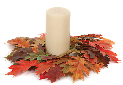 """13"""" W  FireSafe Oak and Maple Candle Ring Fall Colors 5.5"""" Inside Diameter Candle Sold Separately"""