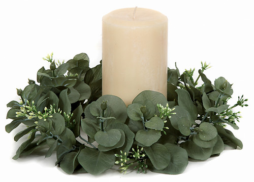 """CR-70030 - Fire Retardant 10"""" Dia Seeded Eucalyptus Candle Ring 5"""" Inside Diameter Candle Sold Separately"""