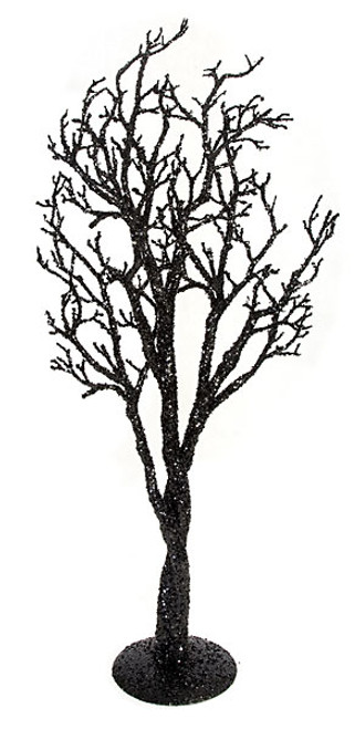 """A-100500 - Black with Silver Glitter 39""""  Glittered Twig Tree"""