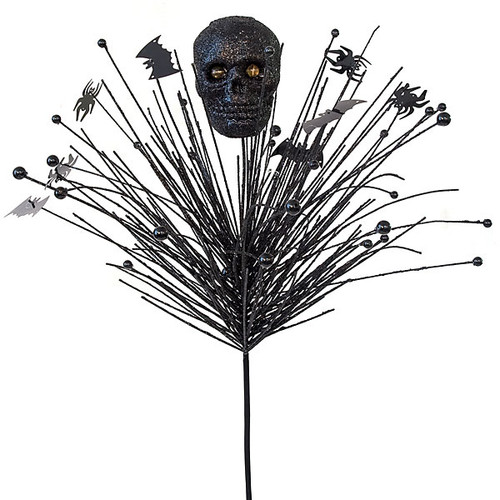 "30"" Glittered PVC Needle Pine with Skull and Beads  19"" Stem Length"
