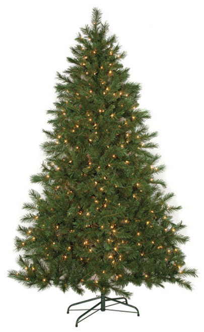 7.5' Noble Fir Flat Tree with Clear Lights