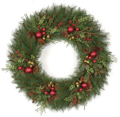 36 Inch Long Needle Pine Wreath Cones/Balls/Berries/Cedar
