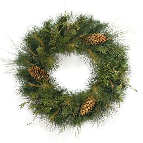 30 Inch Mixed Sugar Pine Wreath Pine Cones/Berries/Laurel Leaves 