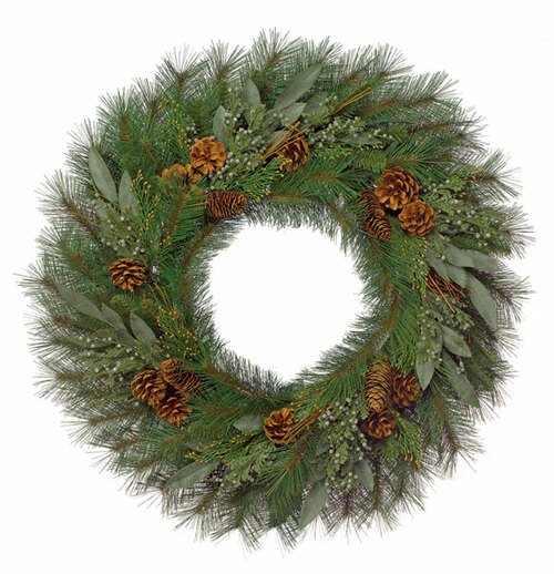 30 Inch PVC Mixed Pine Wreath Bay Leaf, Juniper Berries, Incense Cedar and Pine Cones