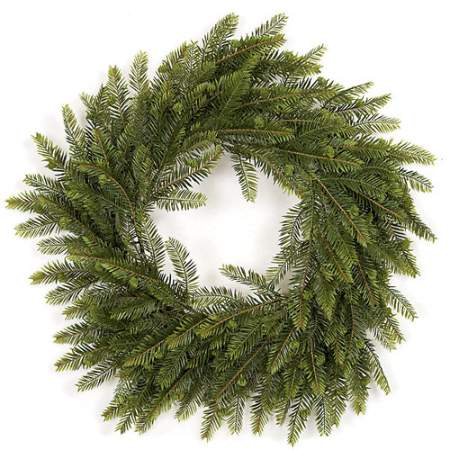 24 Inch Plastic Hemlock Wreath