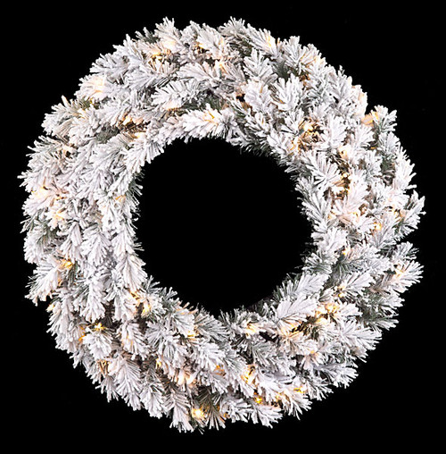 "32"" Heavy Flocked Pine Wreath with Clear Mini Lights"