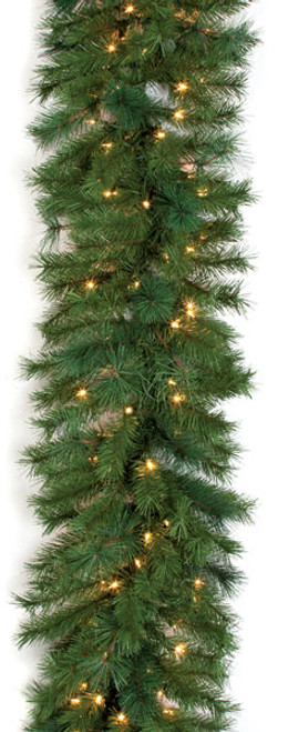 """9' Mixed Pine Garland with Clear Lights18"""" Width"""