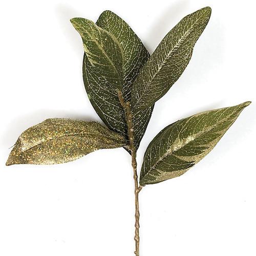 13 Inch Magnolia Leaf Pick Gold/Green