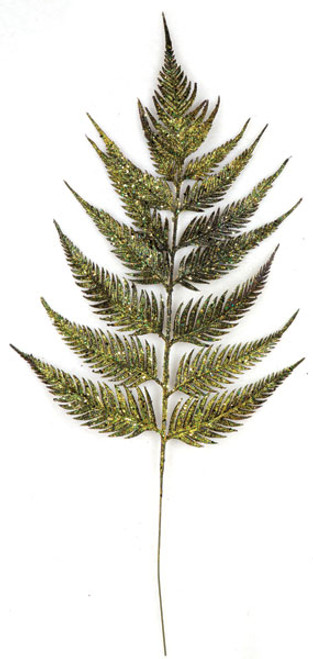 23 Inch Glitter Fern Spray - Brown/Green