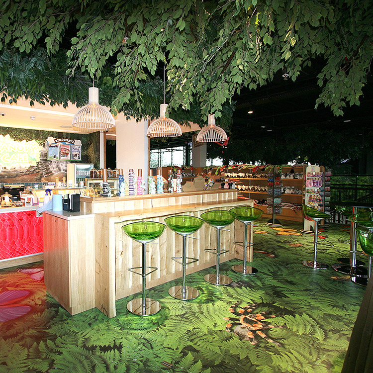 Night outdoor wooden bar with a lot of leaves on top of the image