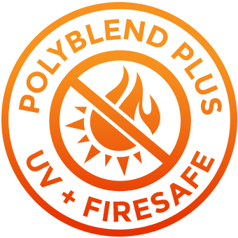 Polyblend plus UV + Firesafe words forming a circular shape. Inside the circle there is a half flame draw crossed by a diagonal line. On the other half there is a part of a sun draw