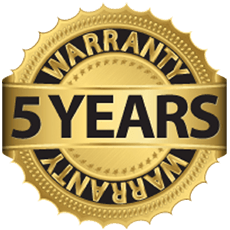 Image of a golden badge. At the center it reads Five years. It has the word warranty on the above edge and warranty upside down on the bottom edge