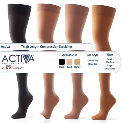 Buy Activa Thigh Length Compression Hosiery Class 1, Class 2 and Class 3 (14-17mmHg, 18-24mmHg & 25-35mmHg) in Honey, Sand, Black. Buy British Standard Activa Compression Hosiery and  Socks at Medical Dressings Ltd the UK's Favourite Medical Online Shop!