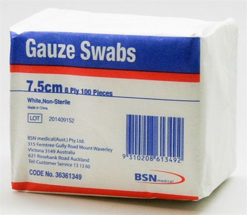 Buy Gauze Swab 8ply 10cmX10cm Non Sterile (Pack of 100)  . Buy Online From Medical Dressings the UK's Favorite Online Medical Shop.