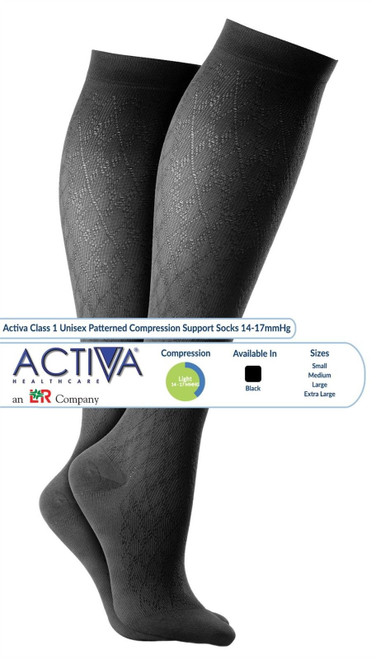 Activa CLASS 1 Compression Socks (Black,Patterned) (14-17mmHg)